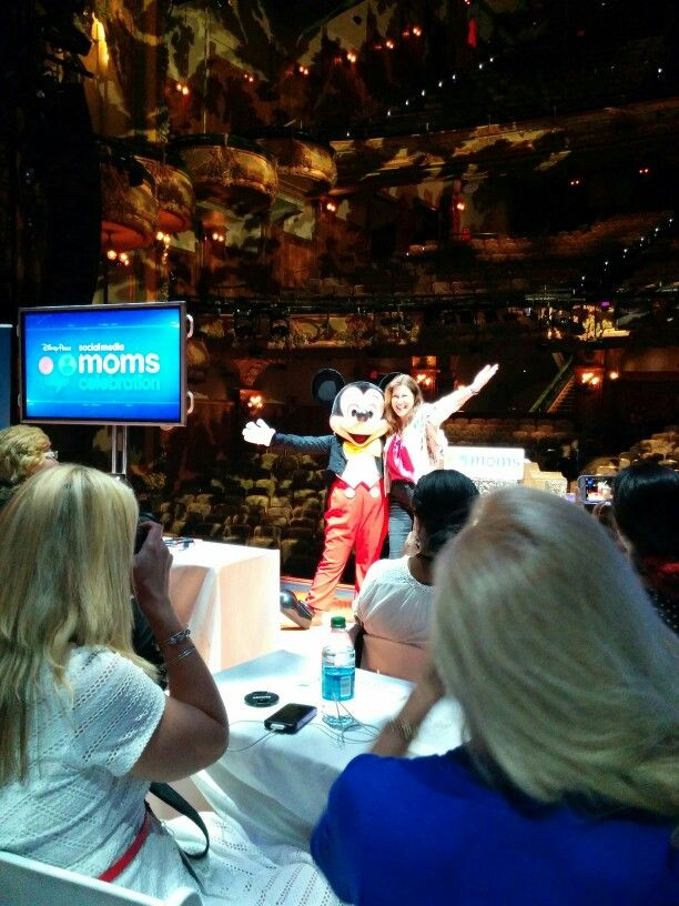 """Mickey Mouse and the fabulous Leanne Jakubowski O'Reagan on the stage of the New Amsterdam Theatre for the Disney Social Media Moms Celebration """"On-The-Road"""" New York City"""