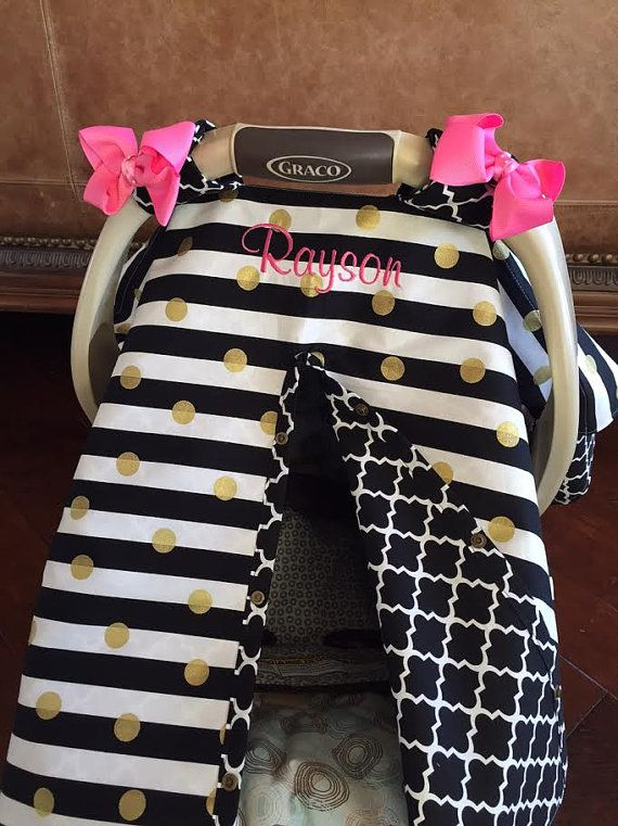 MOD Baby Carseat Cover  Black Stripe and Gold Dot with Black