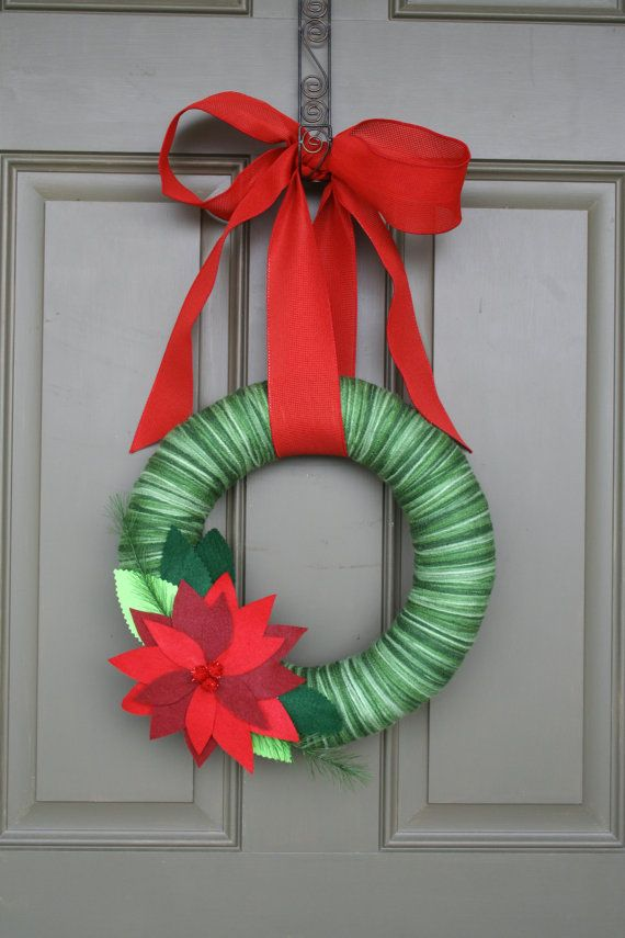 Christmas Yarn Wreath/Felt Poinsettia/Red Ribbon on Etsy, $35.00