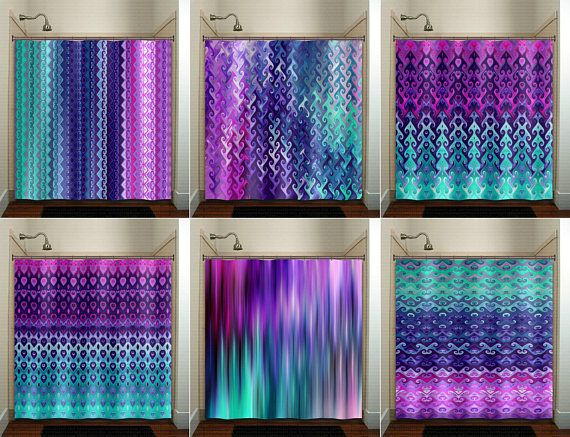 Teal and Purple Shower Curtain bathroom decor fabric kids bath