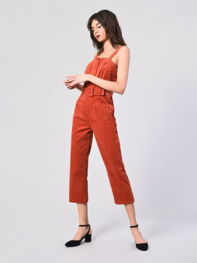 5abd68a6050 Rust Corduroy Belted Pinafore Jumpsuit