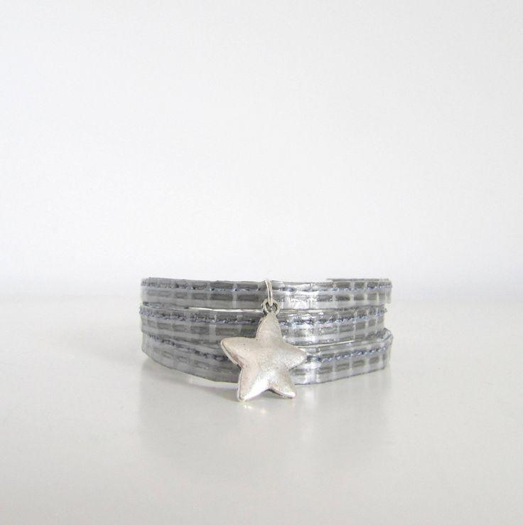 bracelet étoile gris en toile de voile recyclée : Bracelet par l-etoile-de-mer