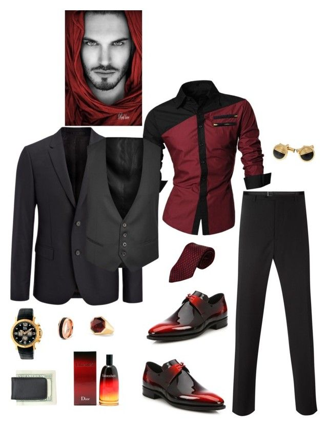 """Untitled #754"" by lianatzelese on Polyvore featuring Corthay, Armani Collezioni, Yves Saint Laurent, Hermès, Mont Blanc, Reign, Joseph, Corneliani, David Yurman and Christian Dior"