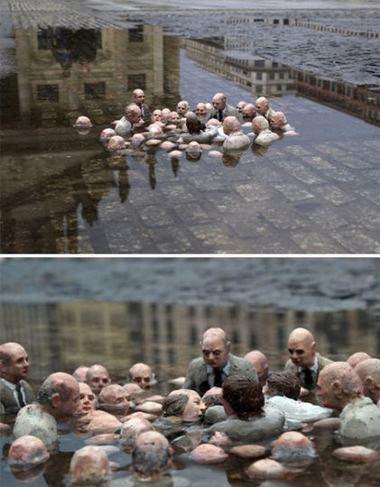 "Issac Cordal's miniature sculpture ""Electoral Campaign"" in a puddle in Berlin. 2011"
