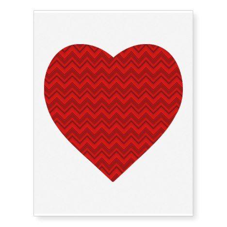 Red Chevron Heart Temporary Tatoo Temporary Tattoos #valentinesday #tattoos