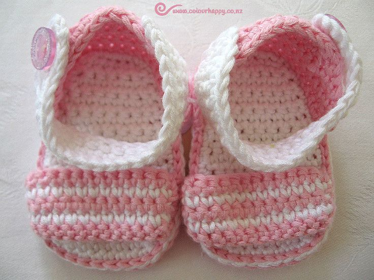 Pink & White Crochet Baby Sandals ♥Made by Colour Happy / Adele, based on a pattern by Vita Apala
