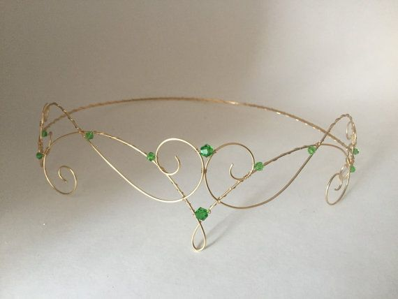 Elfin Tiara Forehead Crown gold wire with green by WirePrincess