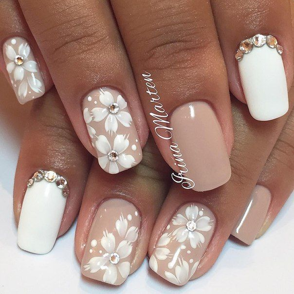 25 beautiful flower nails ideas on pinterest spring nail art beige and white nails flower nail art flower summer nails manicure by summer prinsesfo Gallery