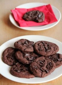 Black bean brownie cookies-Puree 1 can black beans + 2T milk + 1.5T peanut butter + 2T olive oil until smooth. Add 3T whole wheat flour + 1/4 c unsweetened cocoa powder + 1/3c sugar + 1t baking powder + 1t vanilla + pinch cinnamon + pinch salt. stir in 1/3c (dark) choc.chips. (can sprinkle extra chips on top of cookies before baking). Bake  @375 for 10 min.  (16 cookies)