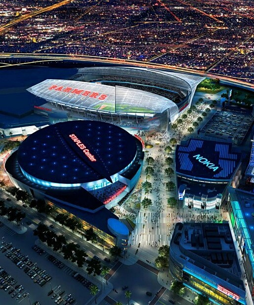 "Soon Los Angeles,California will have a football team.This stadium should be finished built by 2016.The teams that might come is,""St.Louis Rams,""Oakland Raiders. .The stadium is called Farmers Field next too Staples Center where NBA basketball team Los Angeles Lakers,Los Angeles Clippers and NHL hockey team Los Angeles Kings play.Farmers Field is located in Down town Los Angeles,CA,USA at L.A Live."