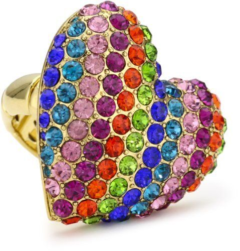"""Betsey Johnson """"60's Mod """" Rainbow Heart Stretch Ring Betsey Johnson. $55.00. Handmade rings may range a 1/2 size up or down Made in CN. Gold Tone Heart Ring With Rainbow Colored Crystal Accents And Gold Tone Segmented Stretch Ring Shank. Items that are handmade may vary in size, shape and color. Handmade rings may range a 1/2 size up or down. Made in China"""