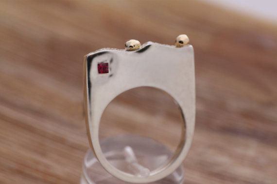 Ruby princess cut / Sterling Silver ring with a by PetrosJewels