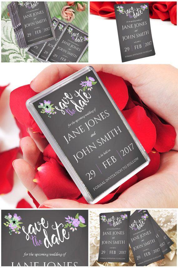 Lilac & Grey Save The Dates Fridge Magnets #prandski #savethedate #fridgemagnets #weddingideas