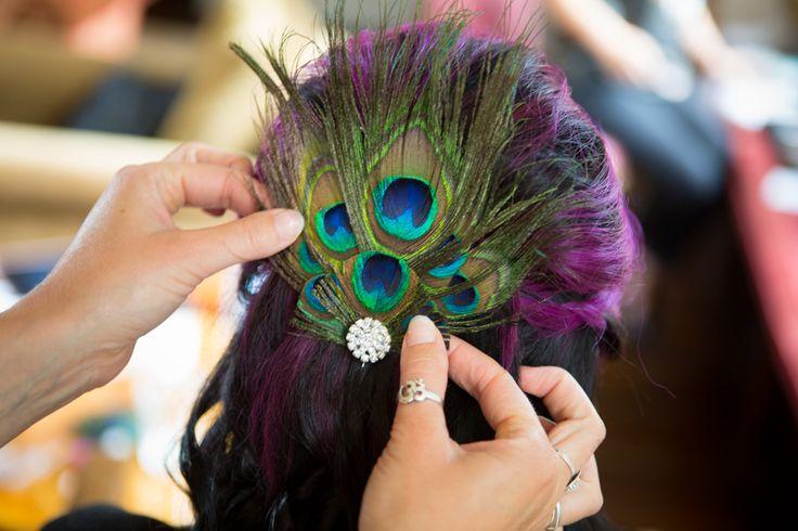 #peacockfeathers #peacockcolours #hairdecoration #kingjohnshouse #larmertreegardens #weddingphotography #brentjonesphotography