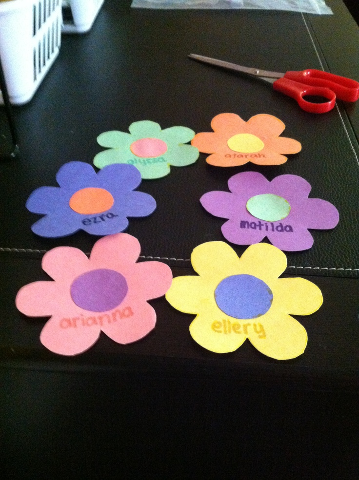 Spring flower Name tags