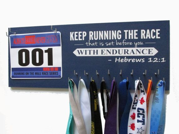 Best price on ETSY. Best seller. Lowest shipping. 400 unique design. $39.99 Running medal holder, runners medal rack, race bibs, marathon, half marathon, 5K, 10k for all runners. Gifts for runners, running gifts, runner gift, runner present, medal display rack, race bib hanger all of it! LOVE Memorabilia, running plaque, awards by runningonthewall