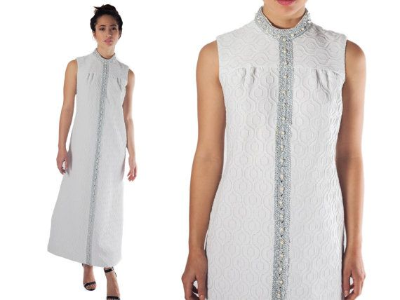 70s maxi dress long white  boho wedding dress mock turtle neck