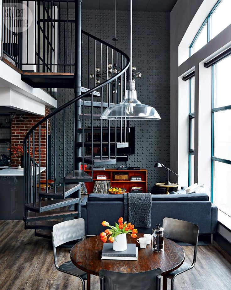 Loft tour retro industrial design spiral staircases for Industrial design house plans