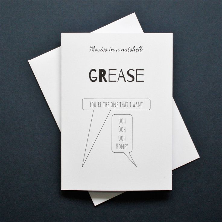 Funny Grease card, you're the one that I want, Grease movie card, Grease film card, movies in a nutshell by Designerpoems on Etsy