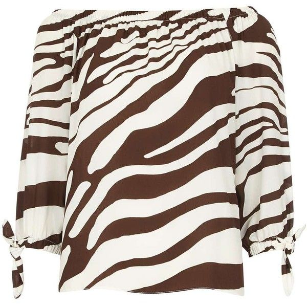 Dorothy Perkins Zebra Animal Print Bardot Top (58 CAD) ❤ liked on Polyvore featuring tops, brown, stripe top, zebra print tops, brown top, white top and dorothy perkins