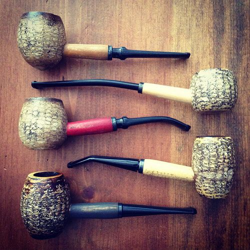 Missouri Meerschaum Corncob Pipes - Aristocob Rusticobs on the left.