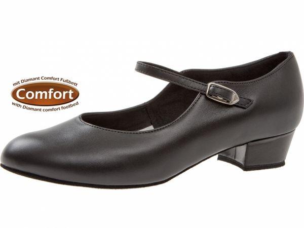 Dieser aus weichem Nappaleder gefertigte Tanzschuhe hat einen Blockabsatz. Das Fußbett und die niedrige Absatzhöhe tragen dazu bei, dass der Tanzschuh besonders bequem ist.