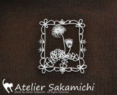 Tatting lace 4月のワンポイントレース てんとう虫とたんぽぽ 完成 : タティングレース便り ~アトリエ さかみち~
