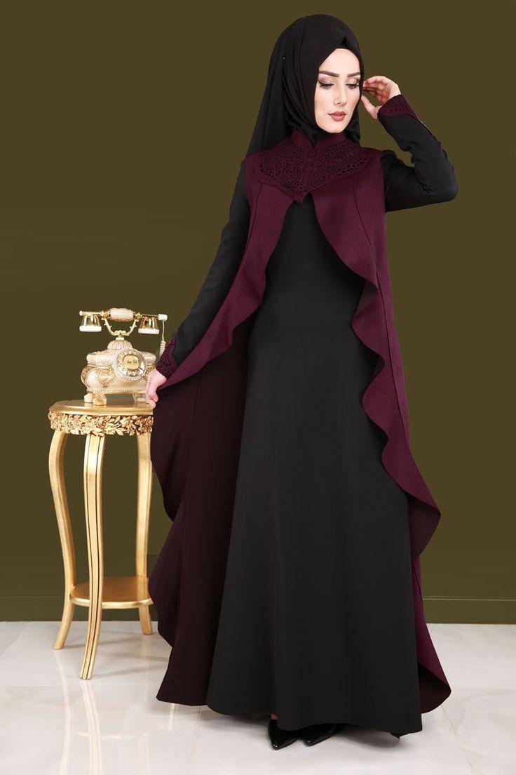 Süet Yelek Görünümlü Elbise RZ6211 Bordo
