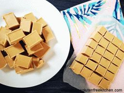 2 ingredient Peanut Butter Fudge ---- This fudge is a little more of a soft set than other varietys, but I think it is much more creamy. I would never be ashamed to take this to a party!