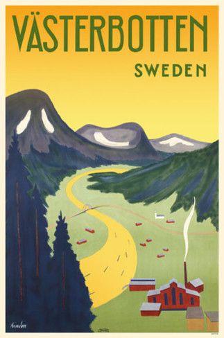 SWEDEN - Vasterbotten Vintage travel poster