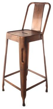 This is what I want.  Ironworks Industrial loft Aged Copper Counter Stool with Back modern bar stools and counter stools