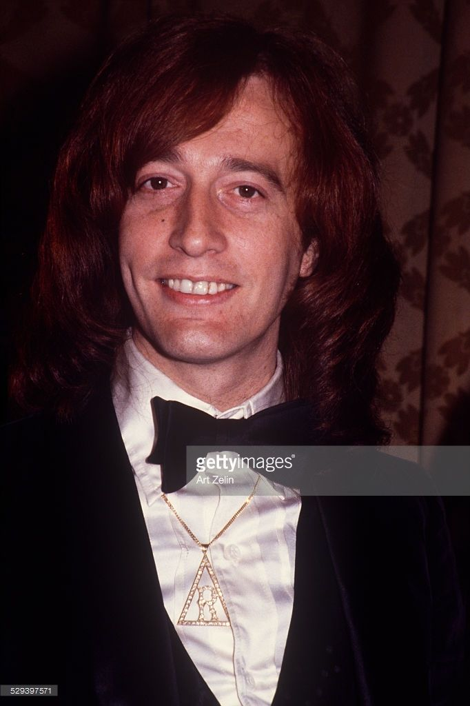 Robin Gibb close-up in a tux; circa 1970; New York.