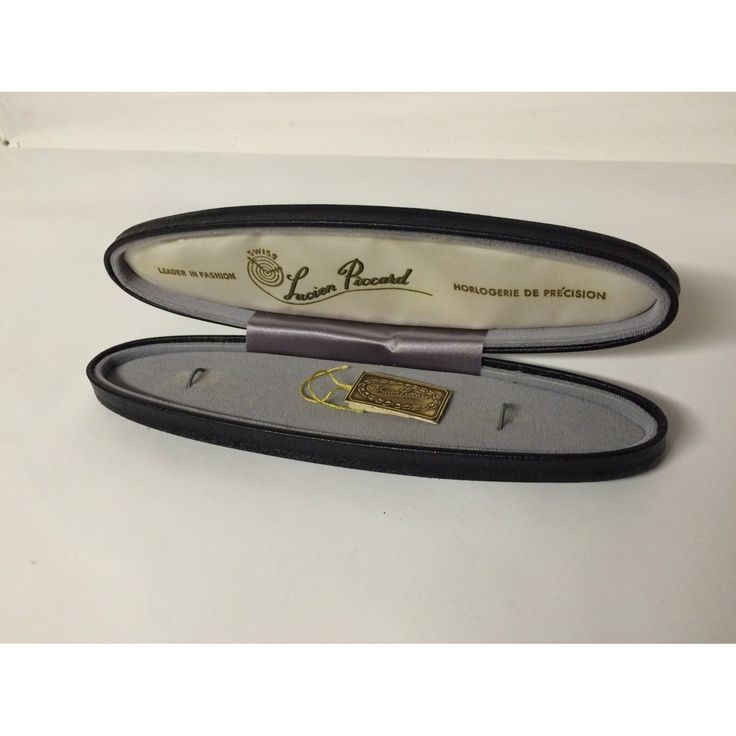 Antique Lucien Piccard Watch Box Case Presentation Black & Gold