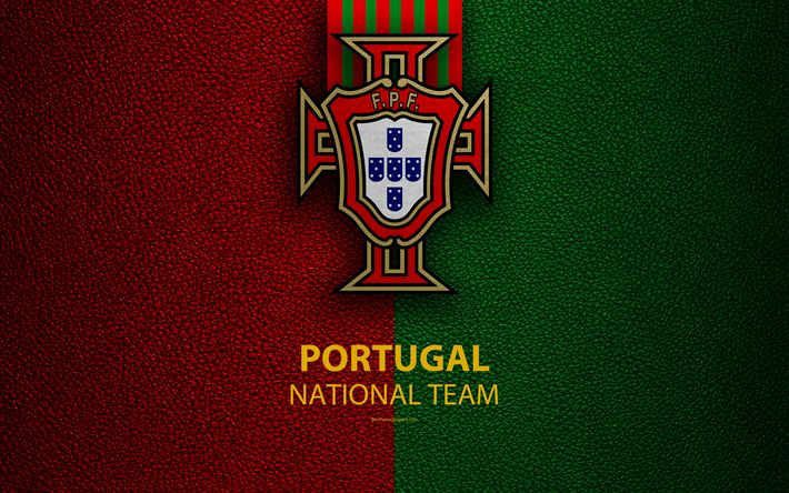 Download wallpapers Portugal national football team, 4k, leather texture, coat of arms, emblem, logo, football, Portugal