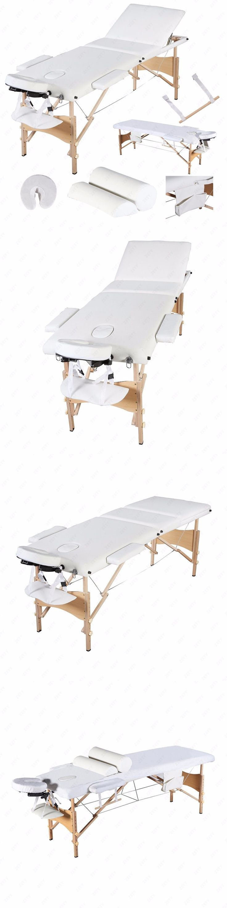 Massage Tables and Chairs: 3 Fold 84L Portable Massage Table Facial Spa Bed Sheet+2 Bolster+Cradle+Hanger BUY IT NOW ONLY: $187.9