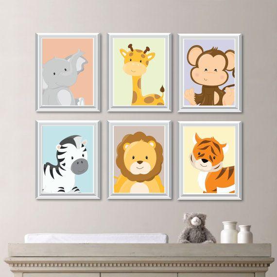 Chambre de bébé Print Art - Animal crèche Decor - Jungle chambre d'enfant - Jungle chambre d'enfant de l'Art - pépinière Safari - Safari pépinière Art - chambre à coucher (NS-732)  Vous recevrez tous les six gravures dans la taille que vous sélectionnez. Chacun deux permettra de mesurer la taille sélectionnée. Sil vous plaît sélectionnez soit « papier photo » (cadres non inclus) ou de la « Toile ». Si vous souhaitez changer les couleurs pour assortir le décor de votre pièce, il suffit…