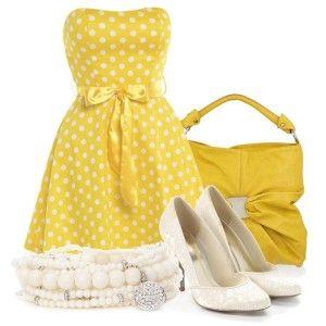 С чем носить белые туфли: желтое платье в горошек, ярко-желтая сумка, белая бижутерия