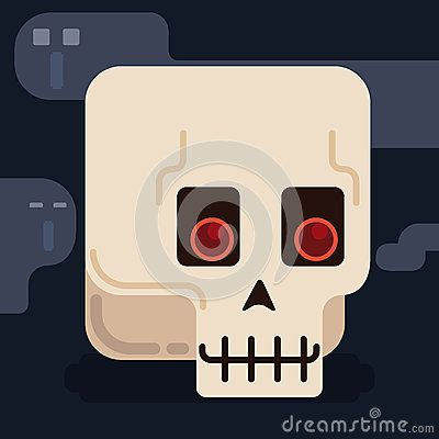 Cute minimalist skull in a enigmatic night with some ghosts around it.