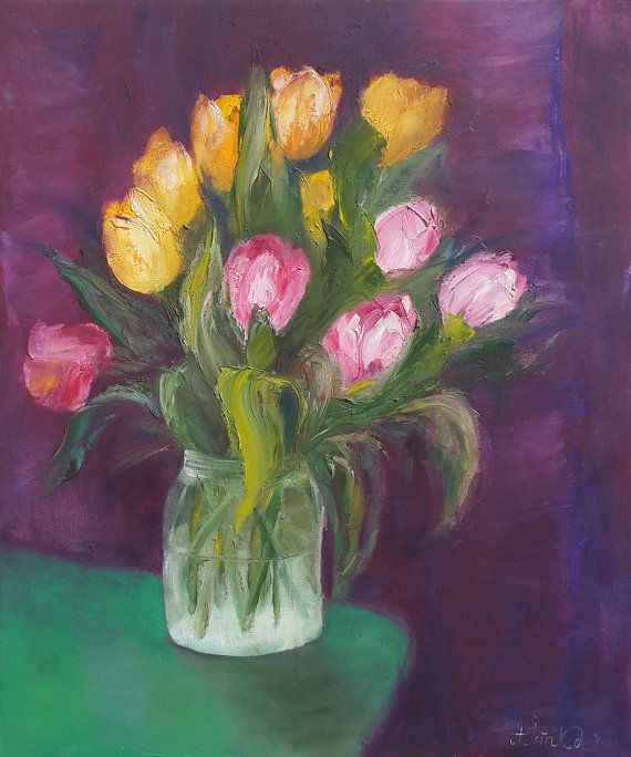 *TITLE:Spring Tulips  *SIZE: 40 cm x 50 cm.  *HAND-PAINTED: All paintings in the…