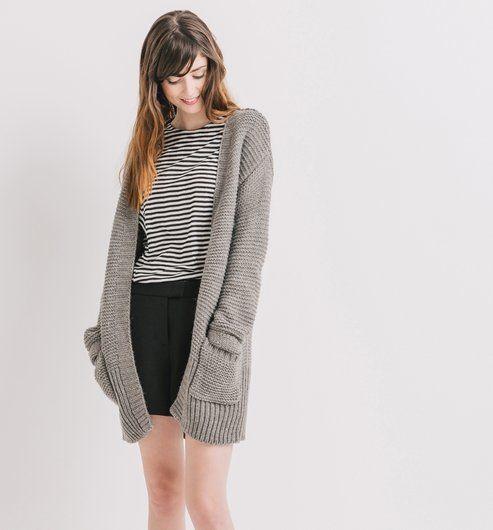 Long gilet en tricot Femme gris - Promod