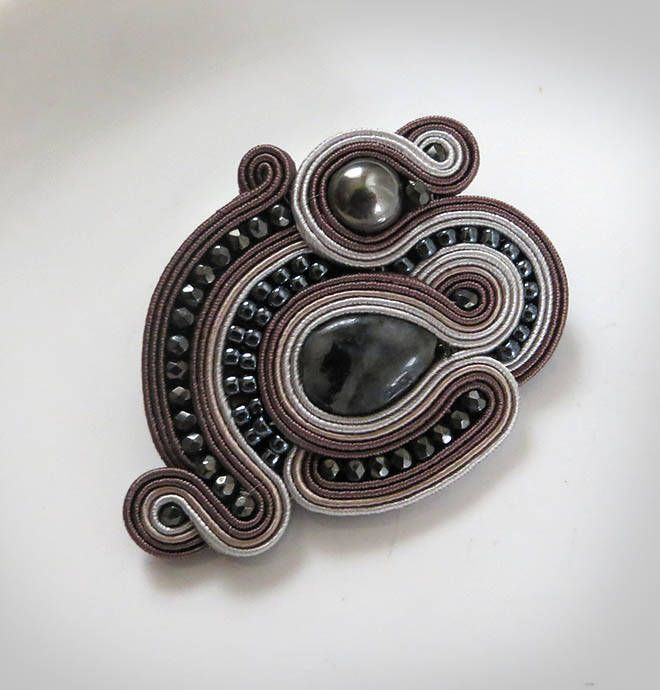 Excited to share the latest addition to my #etsy shop: Brown gemstone Brooch, Vintage Style Jewelry, Chocolate Brown Brooch, Soutache brooch, taupe brooch,Gift Ideas for Her in Gift Box http://etsy.me/2j5SrLT