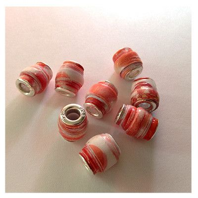 Orange and white paper charm bracelet beads – Lucy Beads