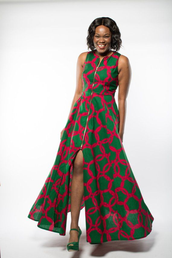 Pin by Soliane on pagne | Maxi dress green, African attire, African clothing