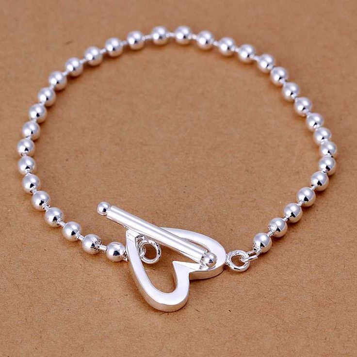Barato Frete Grátis Hot Moda de Nova prata banhado pulseiras GU TO heart shaped…