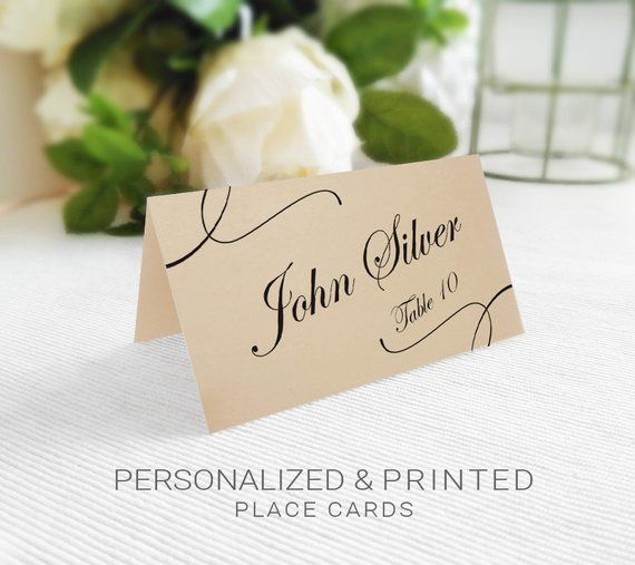 Personalized Wedding DIY Printable 3.5x2 Custom Place Cards Black /& White Calligraphy Name Place Cards