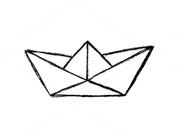 Paper boat sketch by Irene Loal on @creativemarket