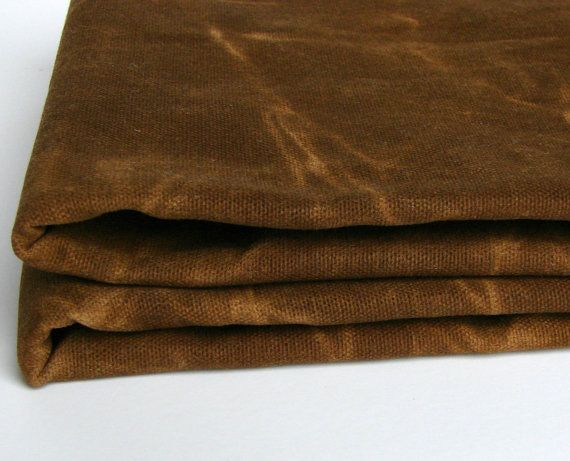 waxed cotton canvas fabric tobacco brown by