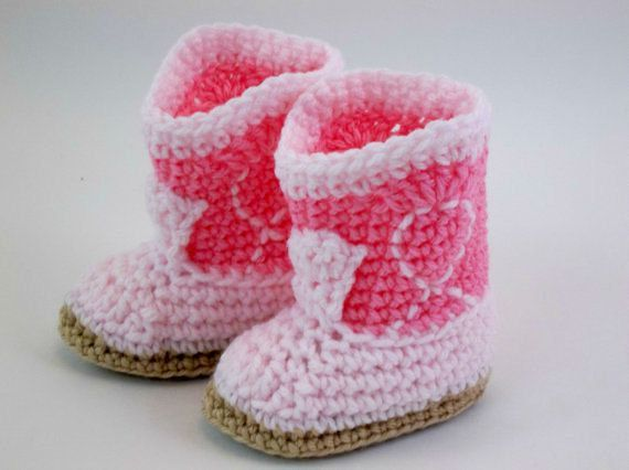 Crochet Baby Booties  Rose & Pink Cowgirl Boots Western Booties $17
