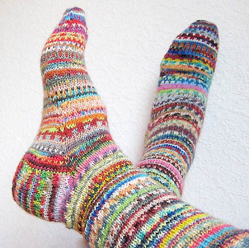 """Get Rid of Terrible Sock Yarn"" socks - not a pattern but a way to use up odds and ends of sock yarn. On Ravelry at http://www.ravelry.com/projects/mademoiselle-c/get-rid-of-terrible-sock-yarn-socks"