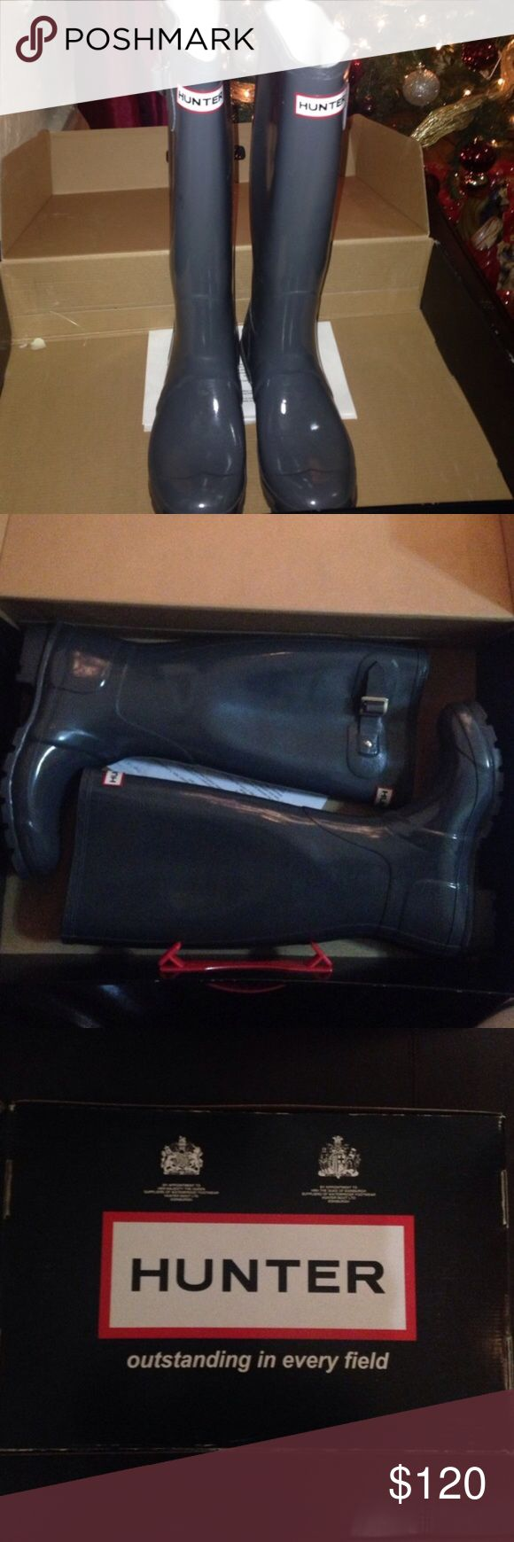 Grey hunter boots Tall gloss hunter boots, comes in box but has to be shipped out without it. Only been wore once. Hunter Boots Shoes Winter & Rain Boots